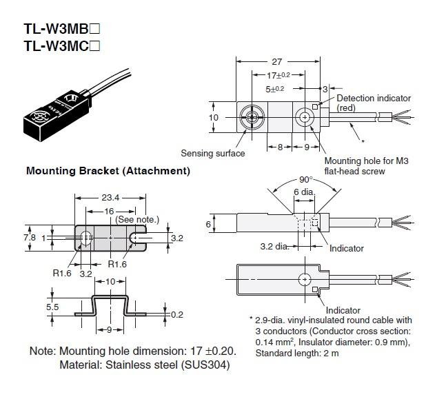 Cảm biến từ Omron TL-W3MC1 2M - Etech