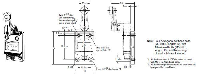 d4cc miniature limit switch  dimensions